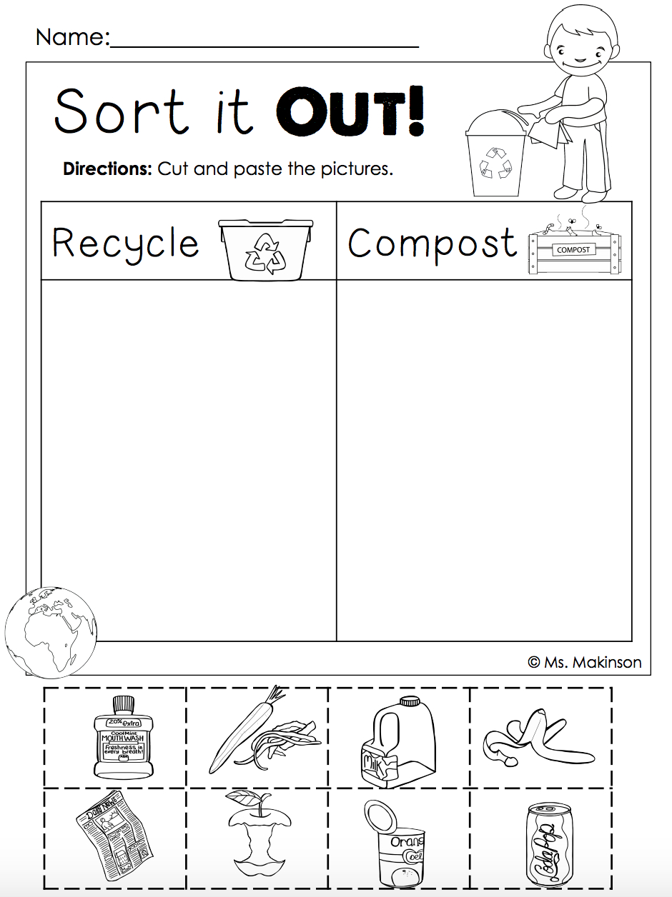 Earth Day Free   Homeschool.   Earth Day, Earth Day Activities - Free Printable Recycling Worksheets
