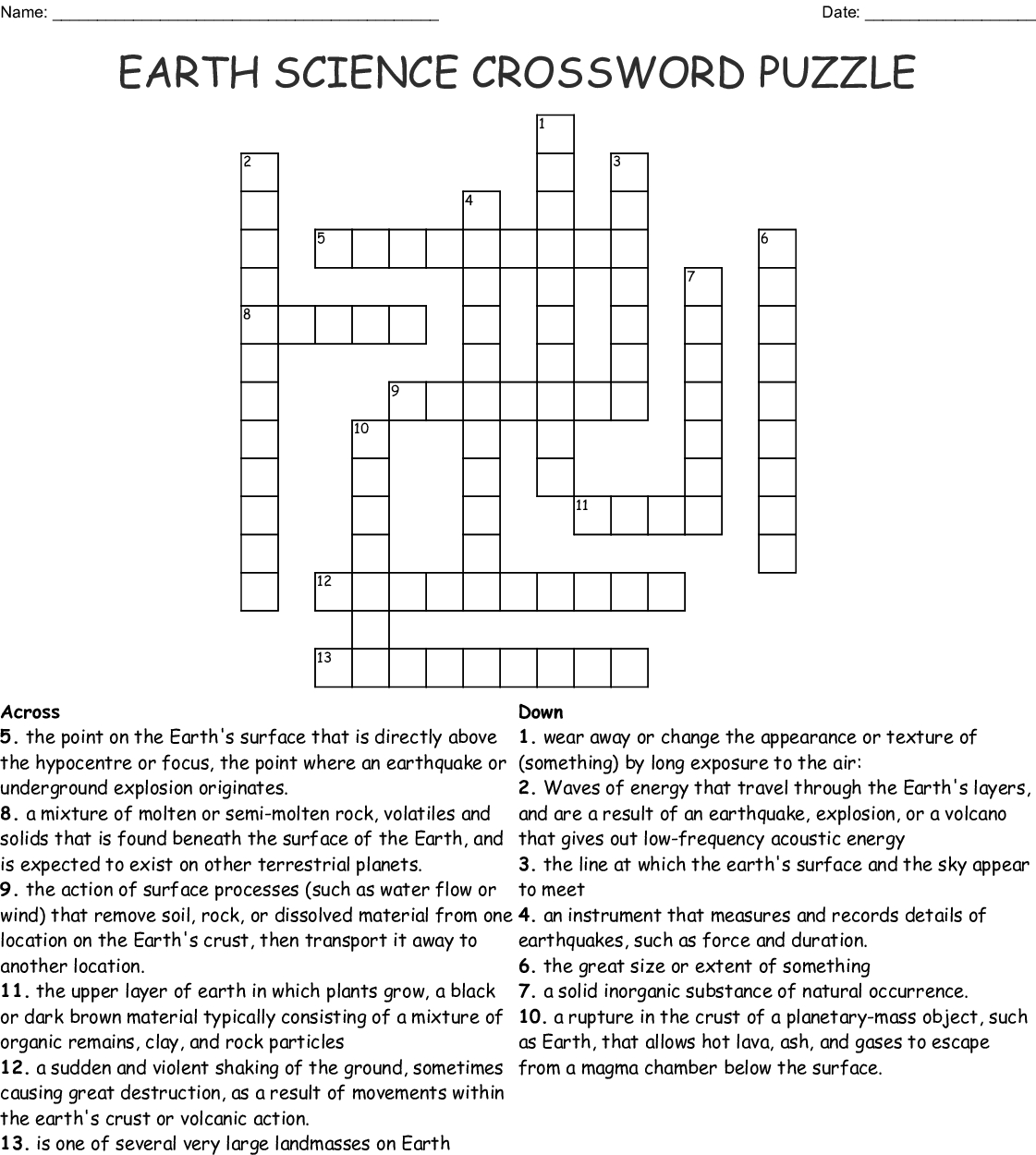 Earth Science Crossword Puzzle - Wordmint - Free Printable Science Crossword Puzzles