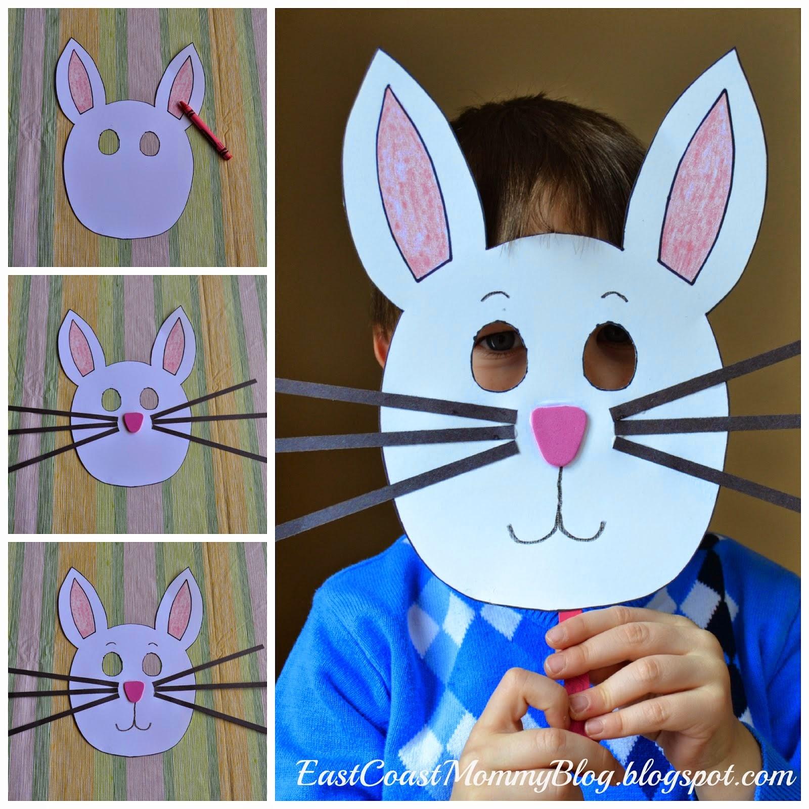 East Coast Mommy: Bunny Mask {Preschool Craft} - Free Printable Easter Masks
