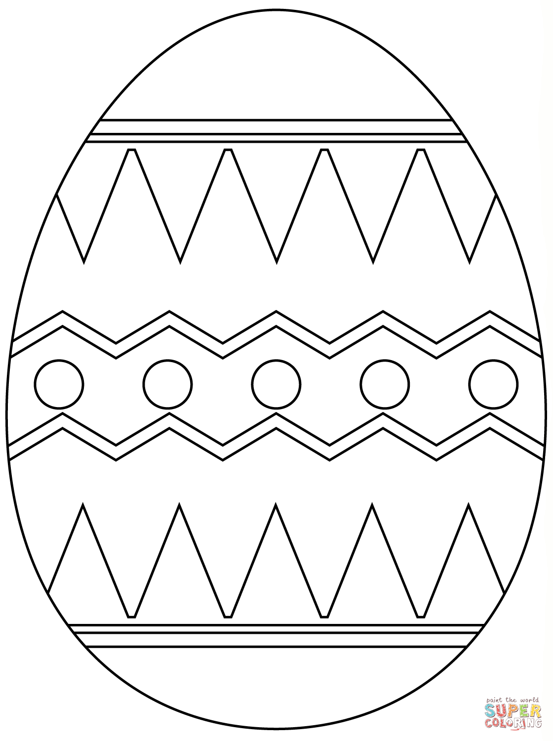 Easter Egg With Abstract Pattern Coloring Page   Free Printable - Easter Egg Coloring Pages Free Printable