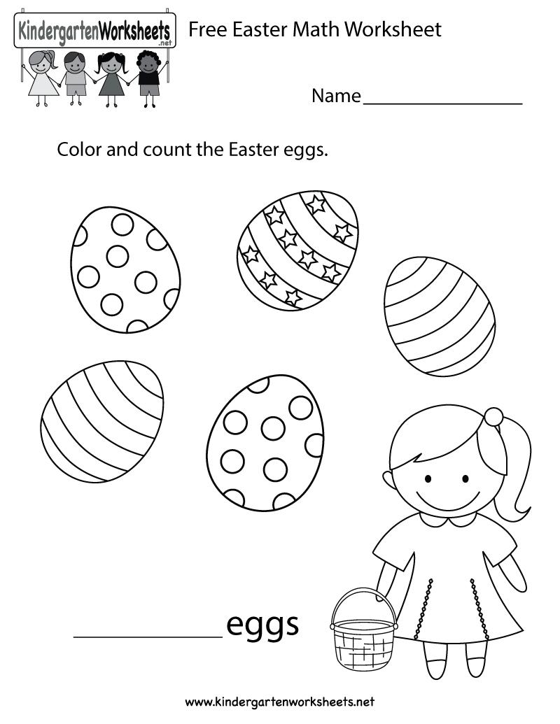 Easter Math Worksheet - Free Kindergarten Holiday Worksheet For Kids - Free Printable Easter Worksheets