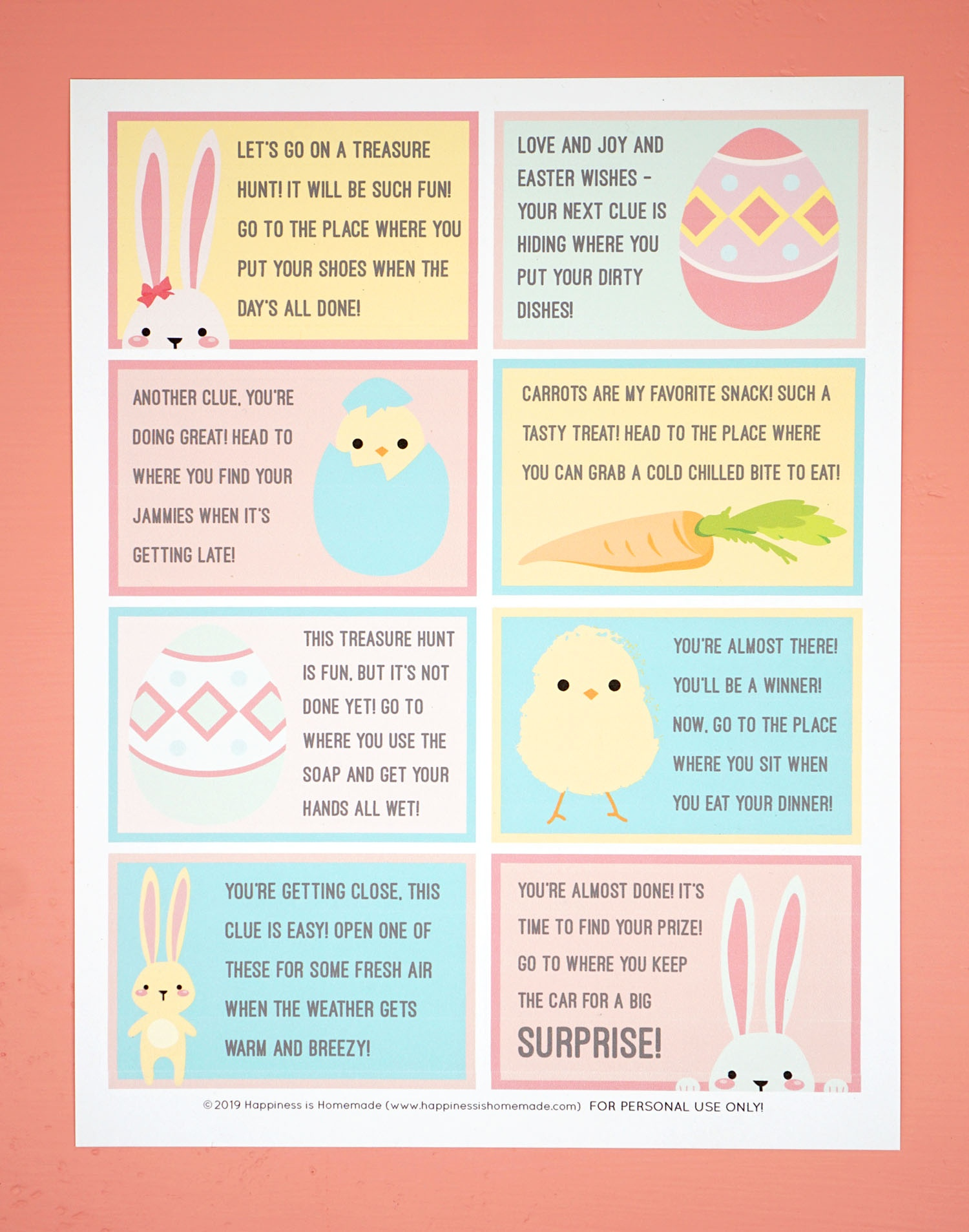 Easter Scavenger Hunt - Free Printable! - Happiness Is Homemade - Free Printable Easter Egg Hunt Riddles