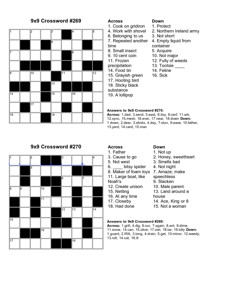 Easy Kids Crossword Puzzles | Kiddo Shelter | Educative Puzzle For - Crossword Puzzle Maker Free Printable With Answer Key