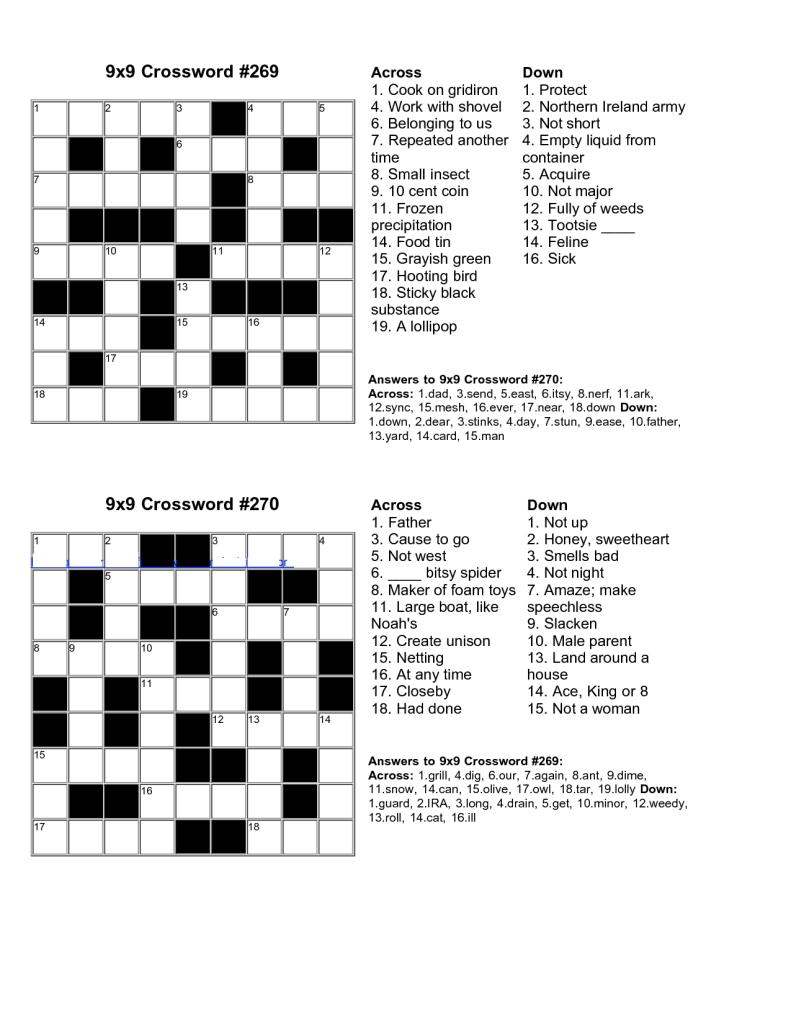 Easy Crossword Puzzle Free Cakomo