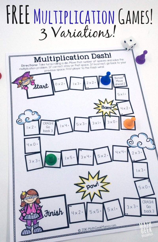 Easy, Low Prep Printable Multiplication Games! {Free}   Math Geek - Free Printable Maths Games