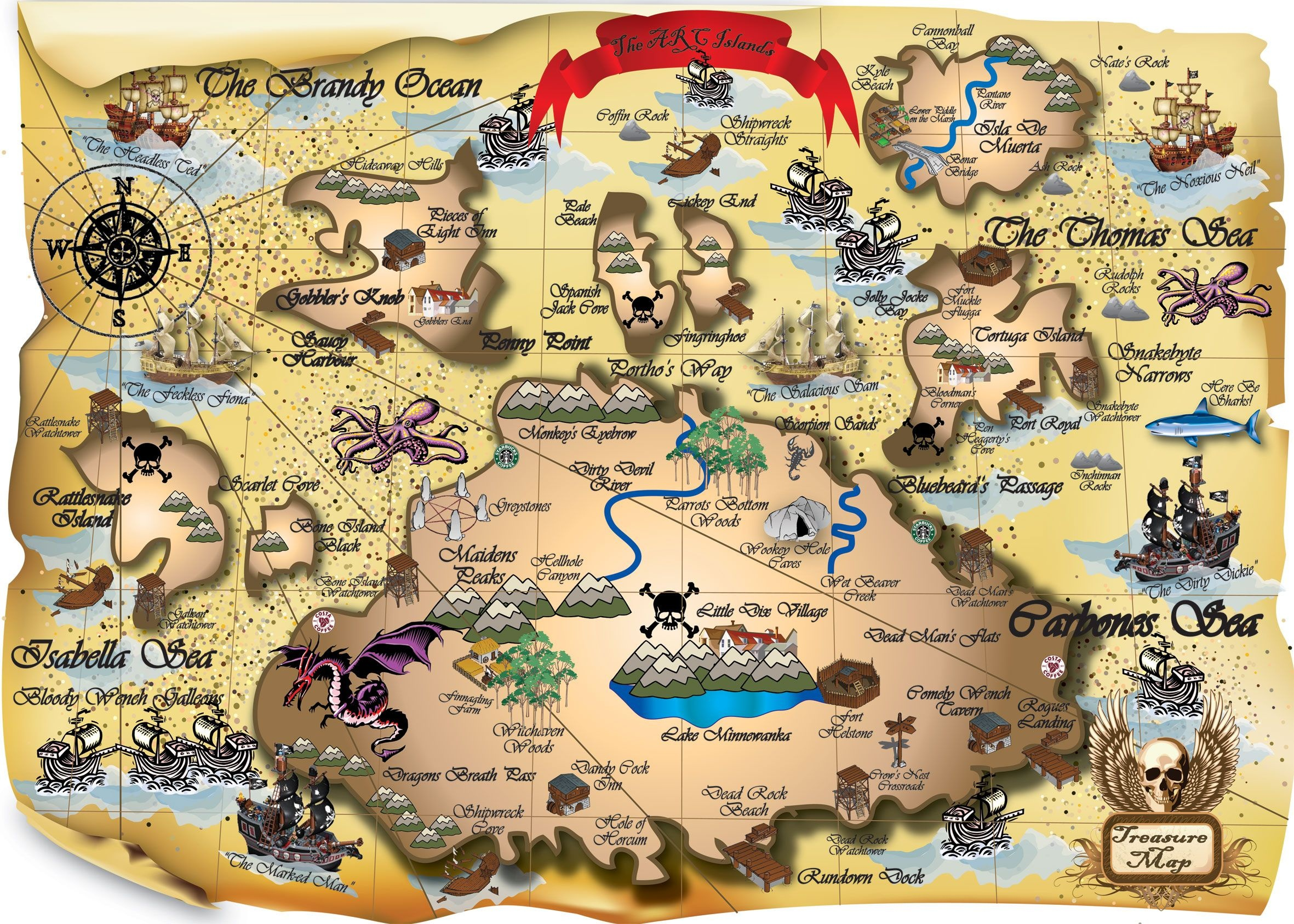 Easy Picture Of A Pirate Treasure Map 2 Printable My Blog | Map - Free Printable Pirate Maps