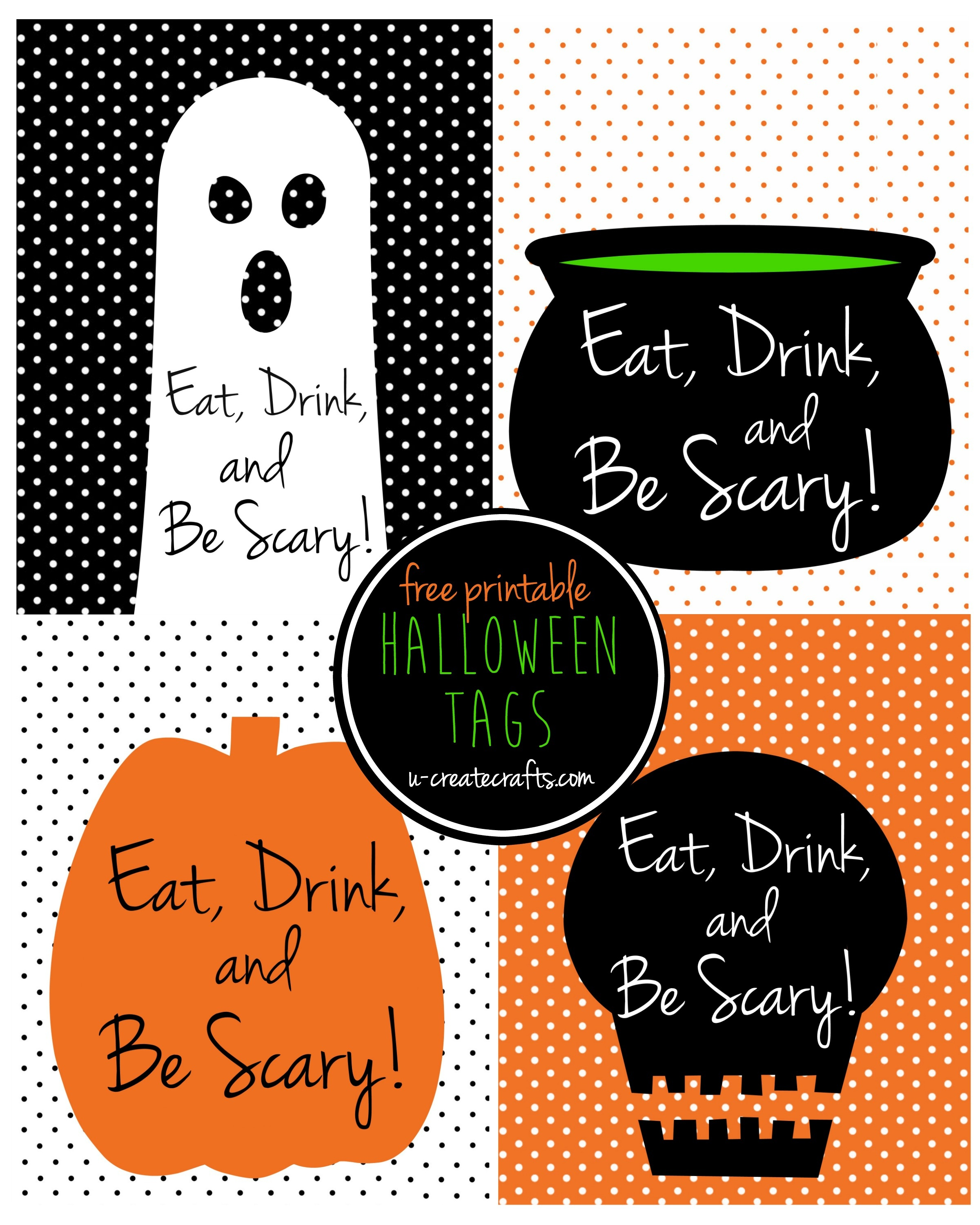 Eat, Drink, And Be Scary Halloween Printable Tags - Eat Drink And Be Scary Free Printable