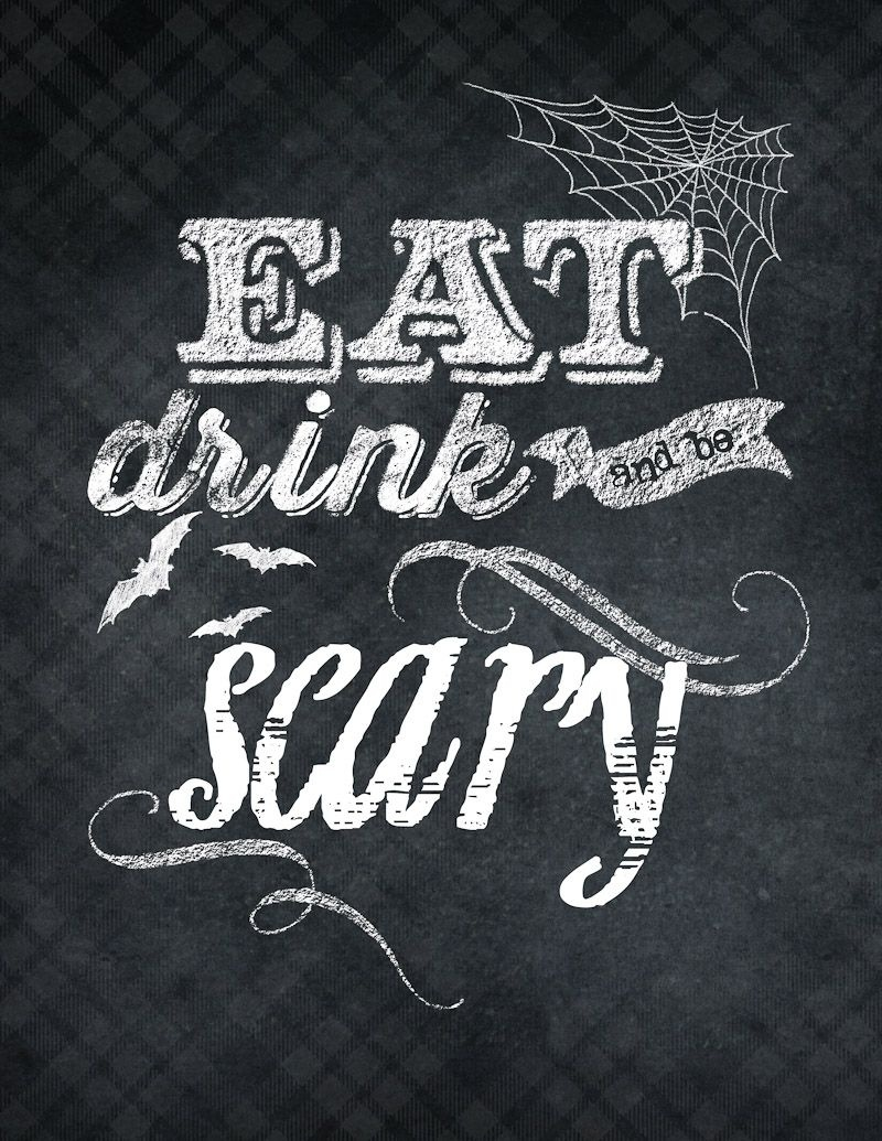 Eat Drink & Be Scary :: Free Printable + Candy Corn Popcorn | Food-E - Eat Drink And Be Scary Free Printable