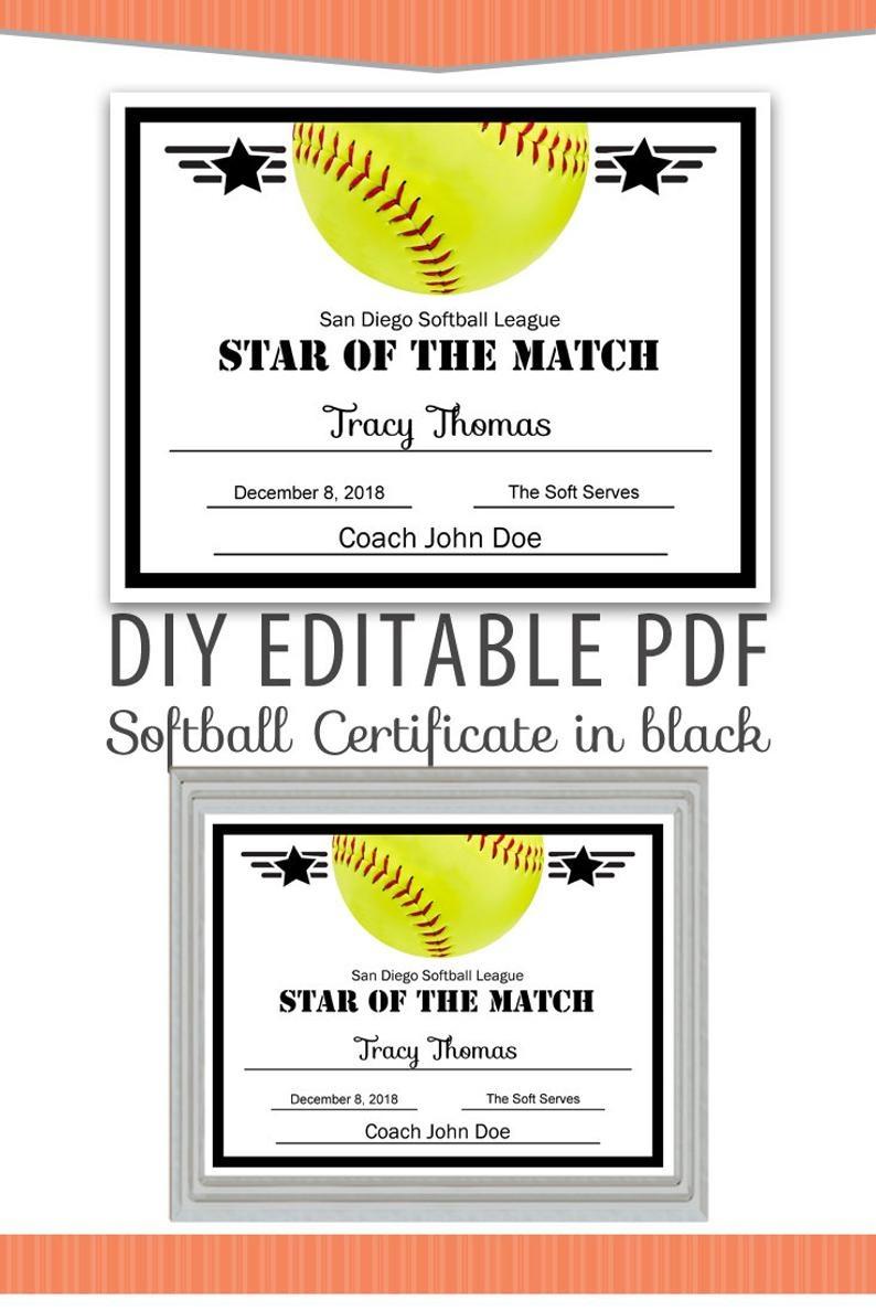 Editable Pdf Sports Team Softball Certificate Diy Award | Etsy - Free Printable Softball Award Certificates
