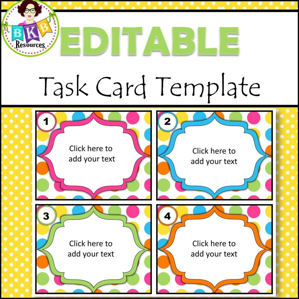 Editable Task Card Templates - Bkb Resources - Free Printable Blank Task Cards