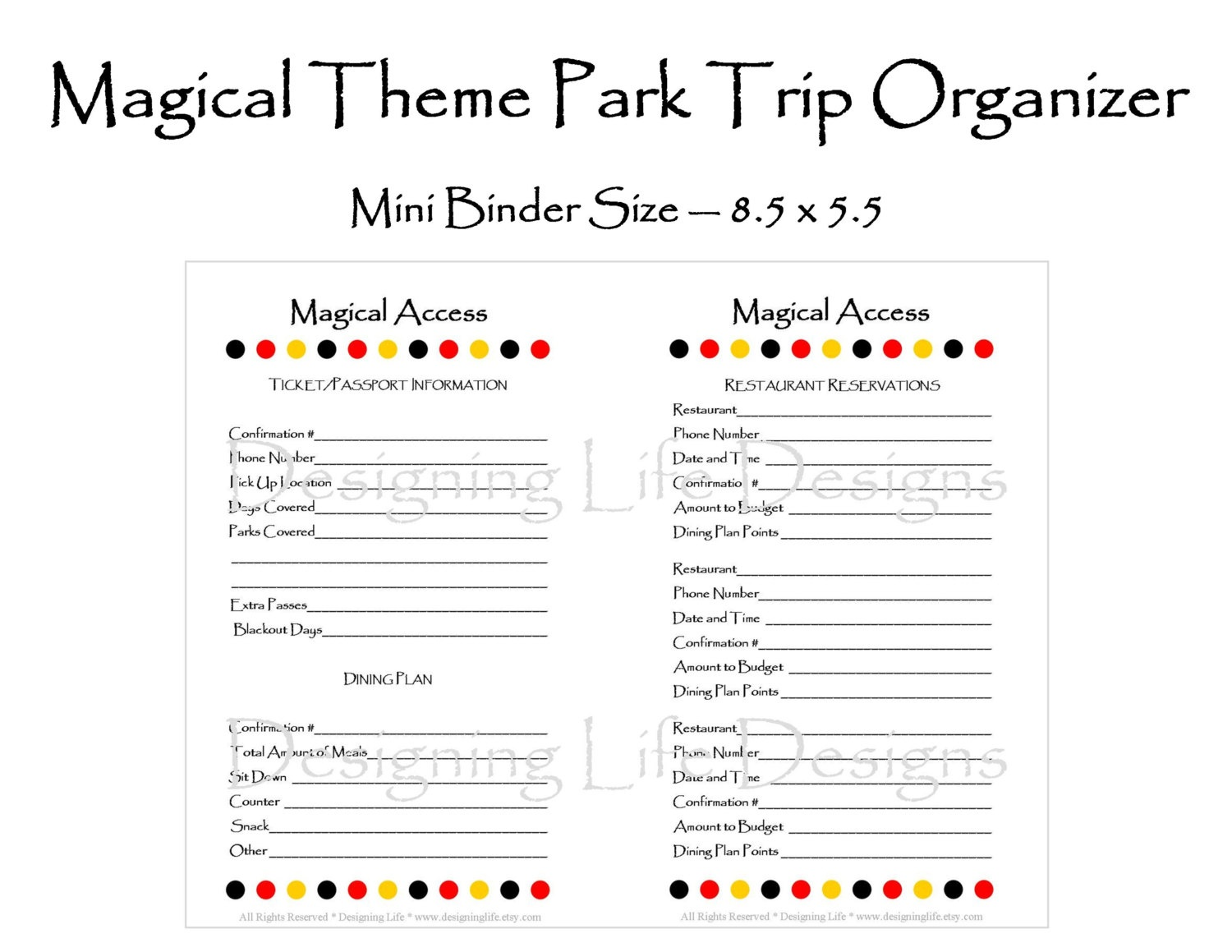 Editable Vacation Planner Magical Theme Park Half Pages 5.5 | Etsy - Free Disney Planning Binder Printables