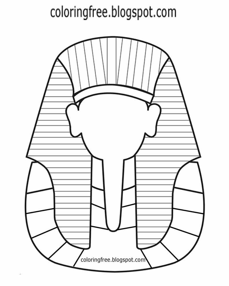 Egyptian Mask Coloring Page - Childrenarepresent - Free Printable Egyptian Masks