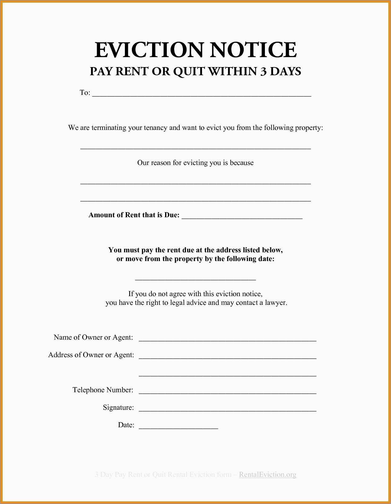 Elegant Free Printable Eviction Notice Template   Best Of Template - Free Printable Blank Eviction Notice