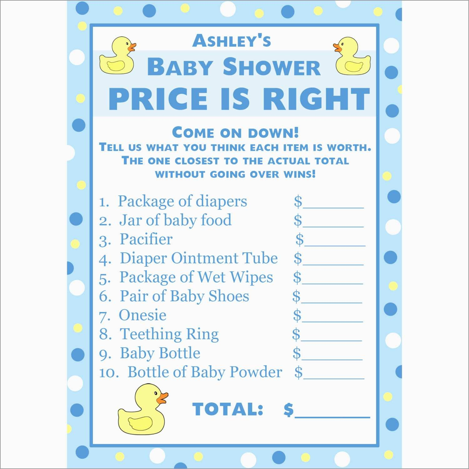 Elegant Price Is Right Baby Shower Game Free Template | Best Of Template - Free Printable Price Is Right Baby Shower Game