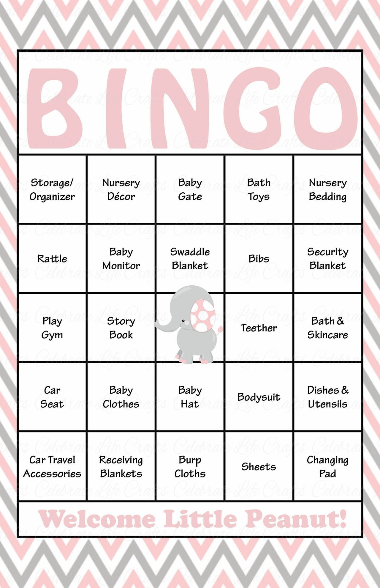 Elephant Baby Shower - Baby Bingo Cards - Printable Download - Baby - Free Printable Baby Shower Bingo For 50 People