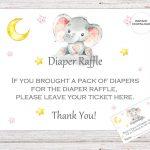 Elephant Printable Diaper Raffle Ticket Elephant Baby Shower | Etsy   Free Printable Diaper Raffle Tickets Elephant