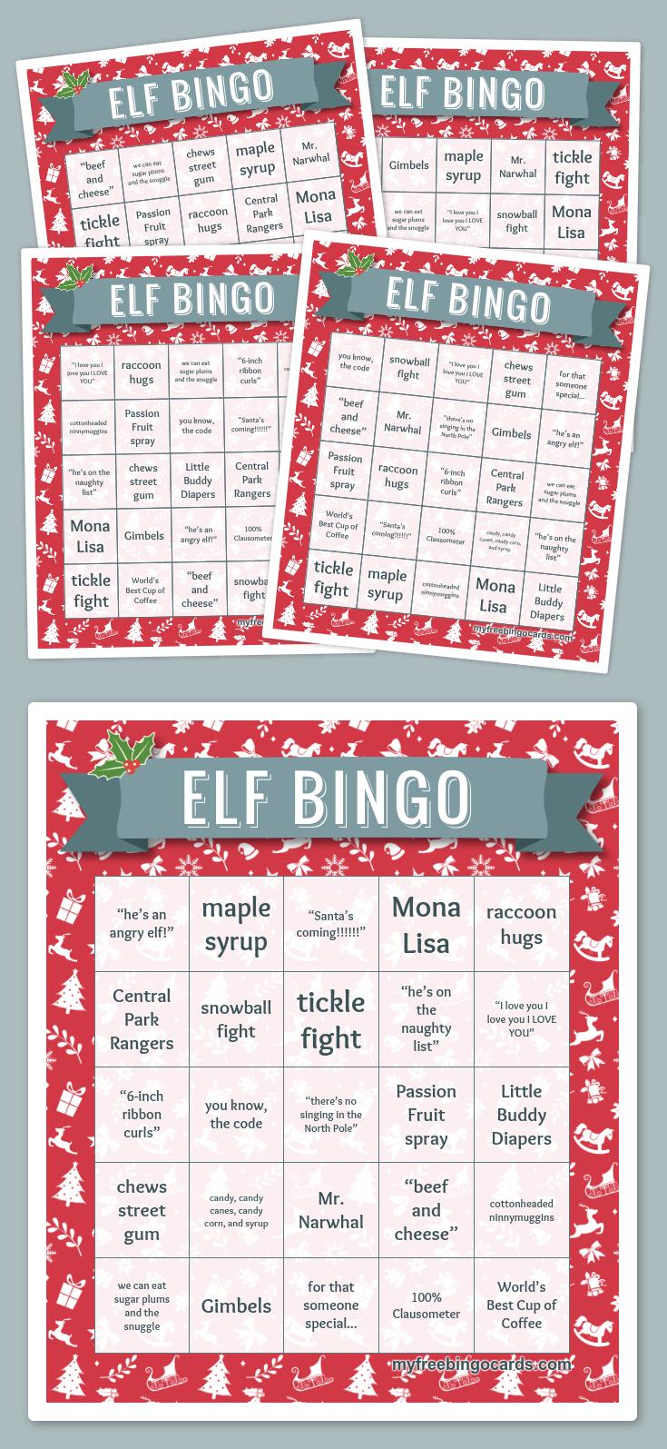 Elf Bingo   Library Displays   Christmas Bingo Cards, Free Bingo - Fraction Bingo Cards Printable Free