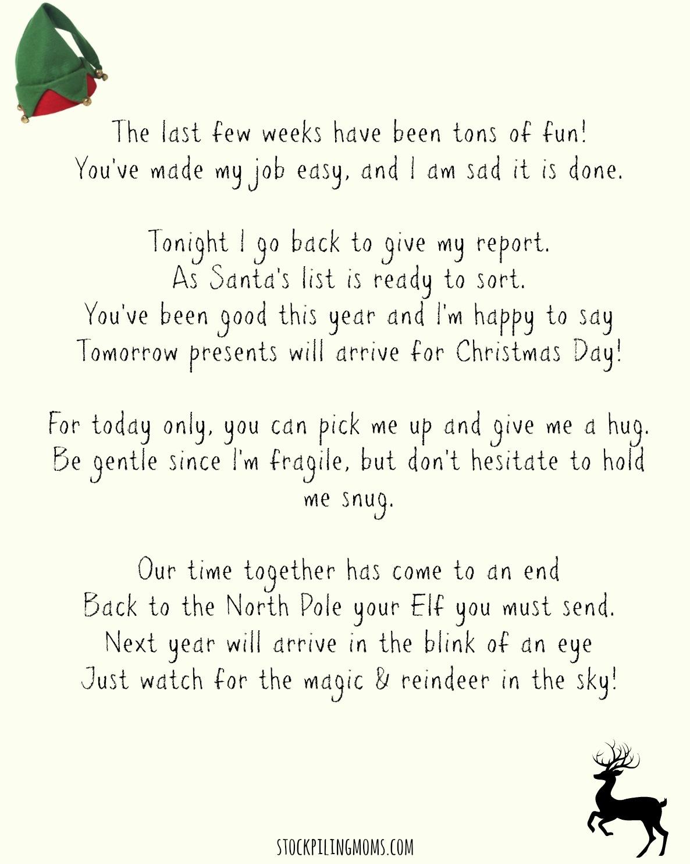 Elf On A Shelf Goodbye Letter Printable - Goodbye Letter From Elf On The Shelf Free Printable