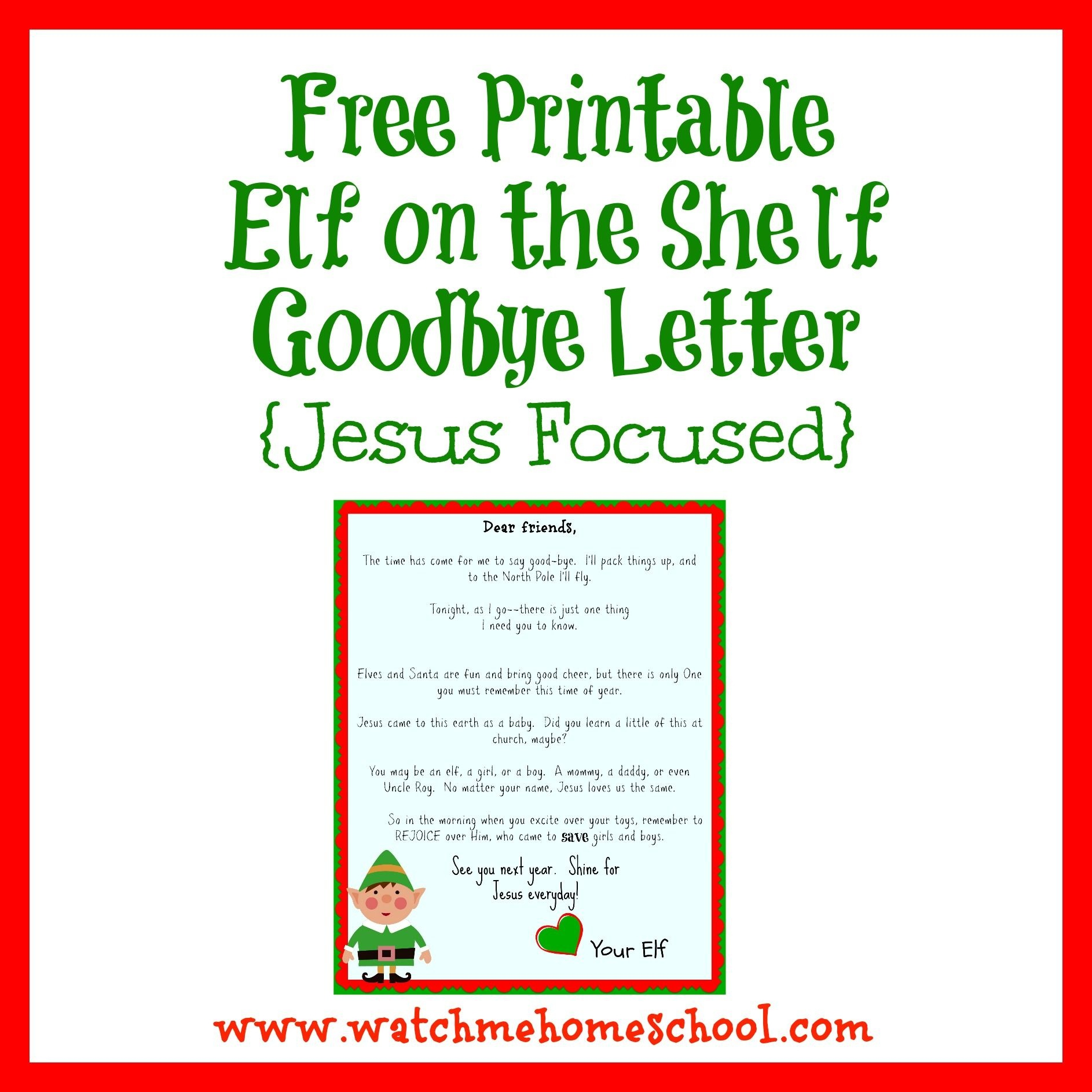 Elf On The Shelf Farewell Letter Printable   Elf On The Shelf   Elf - Goodbye Letter From Elf On The Shelf Free Printable