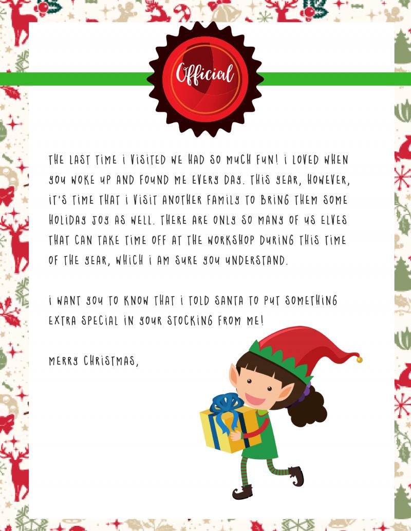 Elf On The Shelf Goodbye Letter : Free Printable - - Free Elf On The Shelf Printables