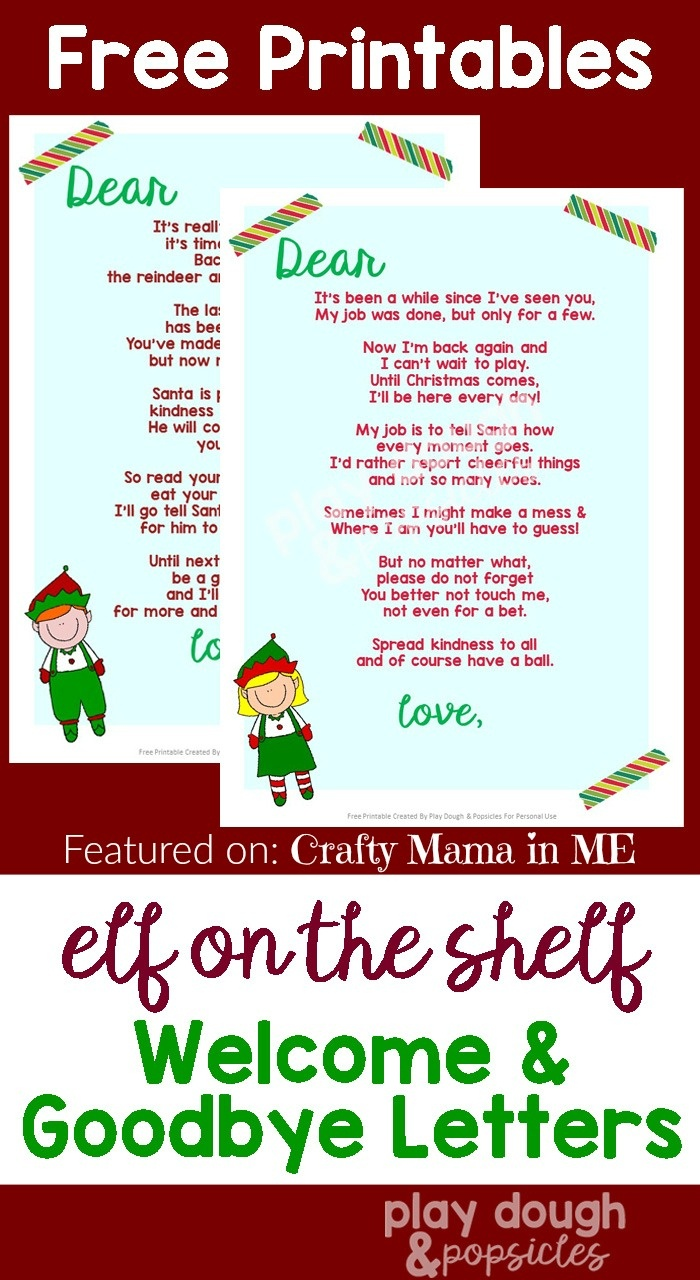Elf On The Shelf Letters {Free Printables} - Crafty Mama In Me! - Goodbye Letter From Elf On The Shelf Free Printable