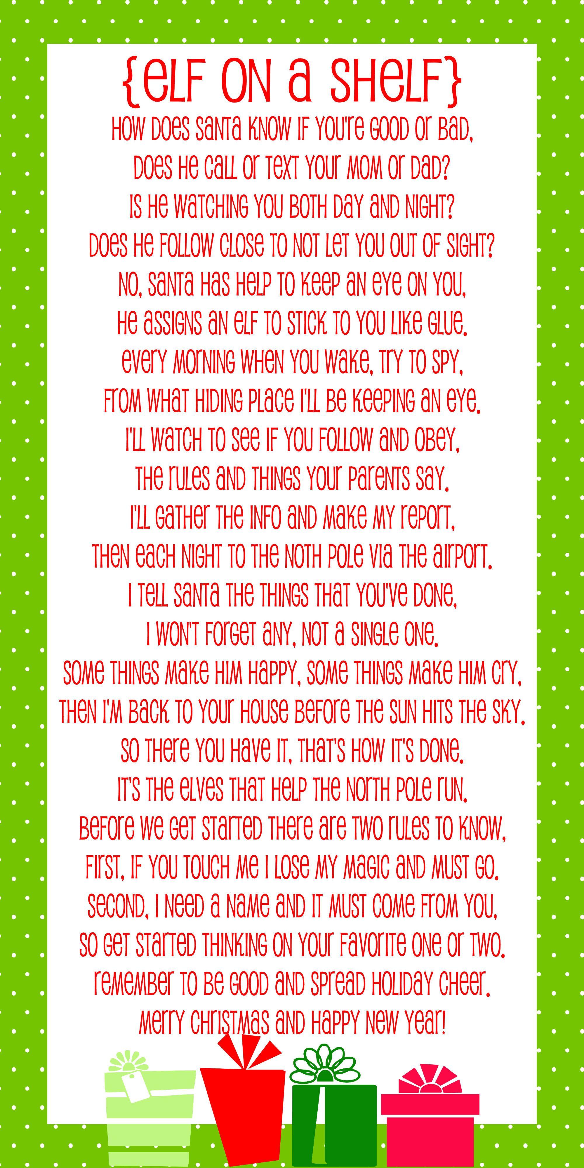 Elf On The Shelf Story - Free Printable Poem   Christmas   Elf On - Free Printable Elf On The Shelf Story