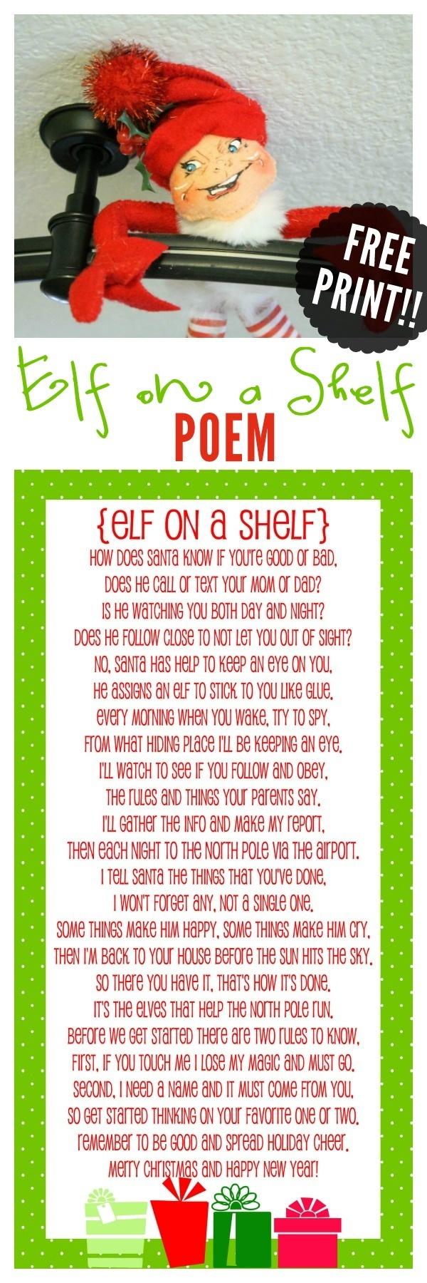 Elf On The Shelf Story - Free Printable Poem   Christmas Help   Elf - Free Printable Elf On The Shelf Story