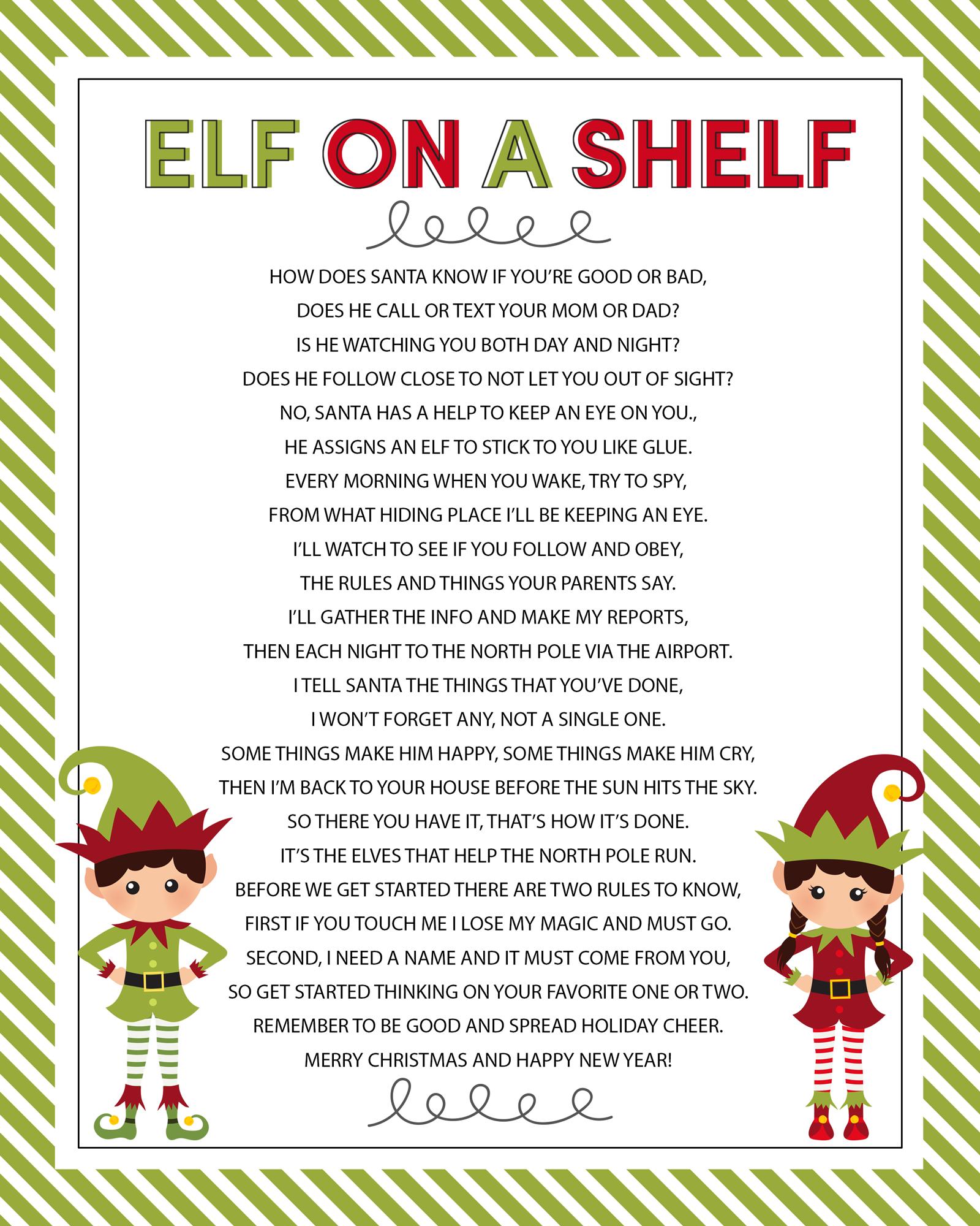 Elf On The Shelf Story - Free Printable Poem - Lil' Luna - Free Elf On The Shelf Printables