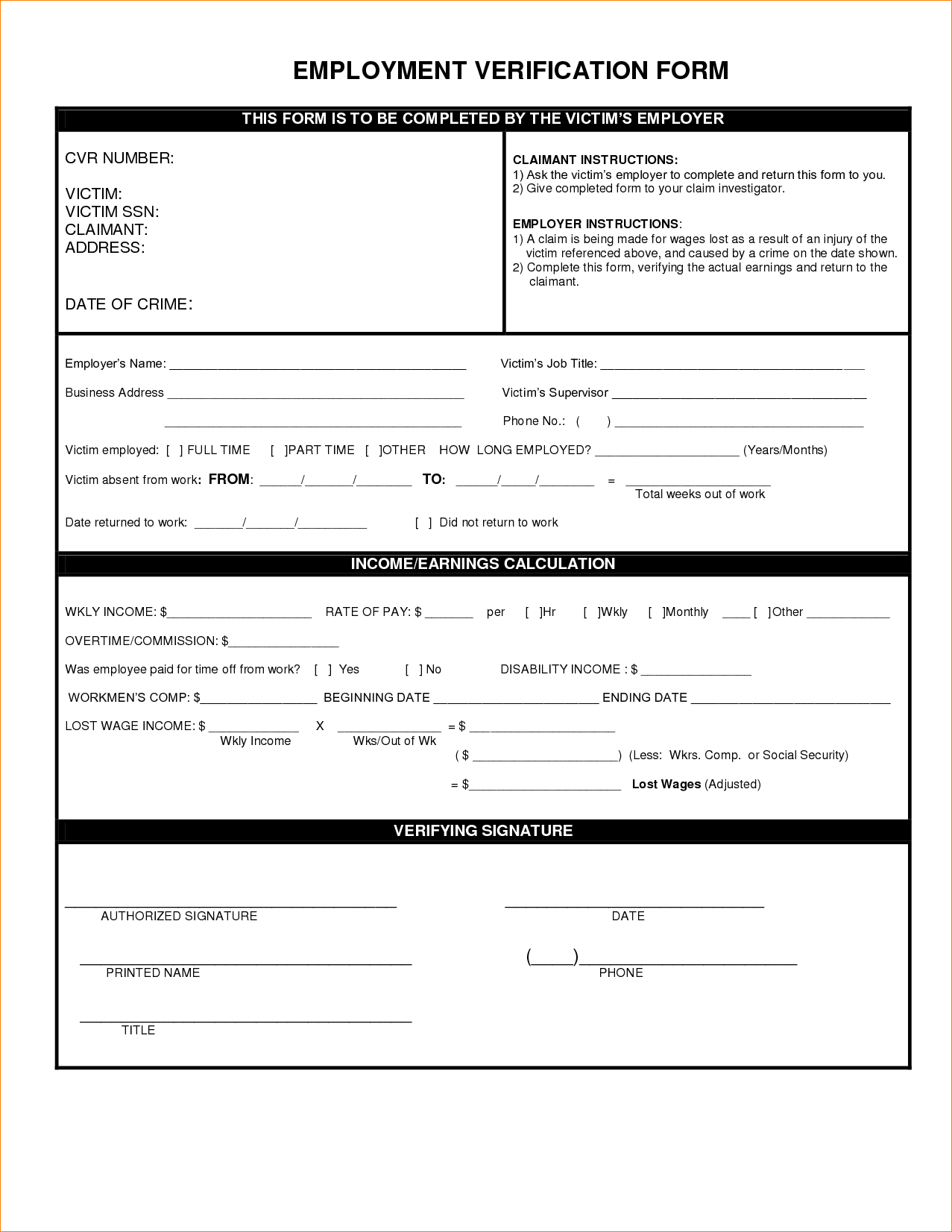 Employment Verification Form Template - Free Printable Employment Verification Letter