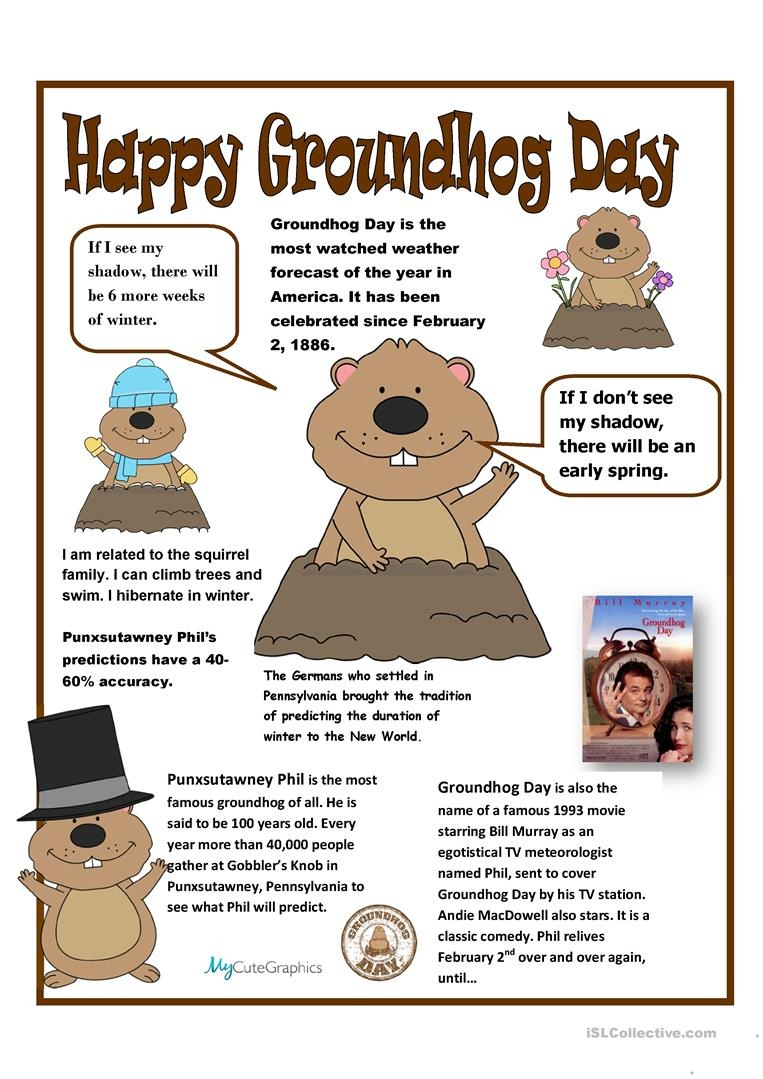 English Esl Groundhog Day Worksheets - Most Downloaded (8 Results) - Free Printable Groundhog Day Reading Comprehension Worksheets