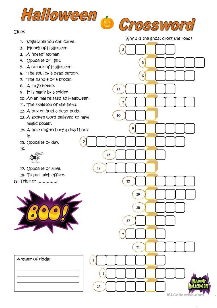 English Esl Halloween Crossword Worksheets - Most Downloaded (23 - Halloween Crossword Printable Free