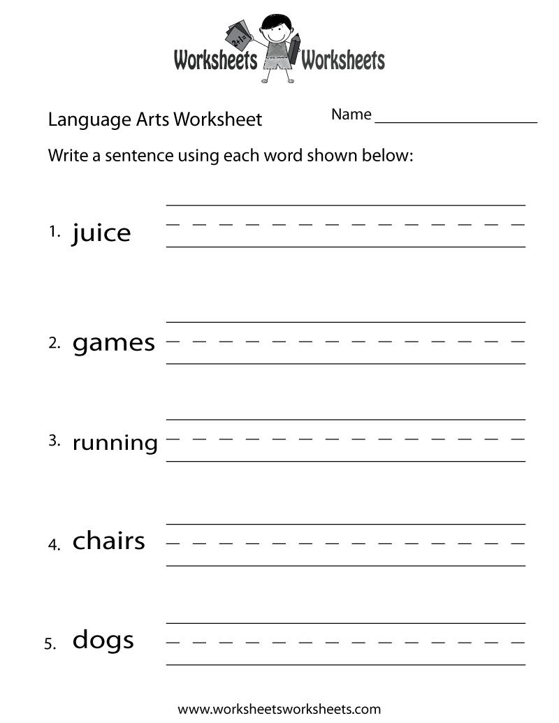 English Language Arts Worksheet - Free Printable Educational - Free Printable Language Arts Worksheets For Kindergarten