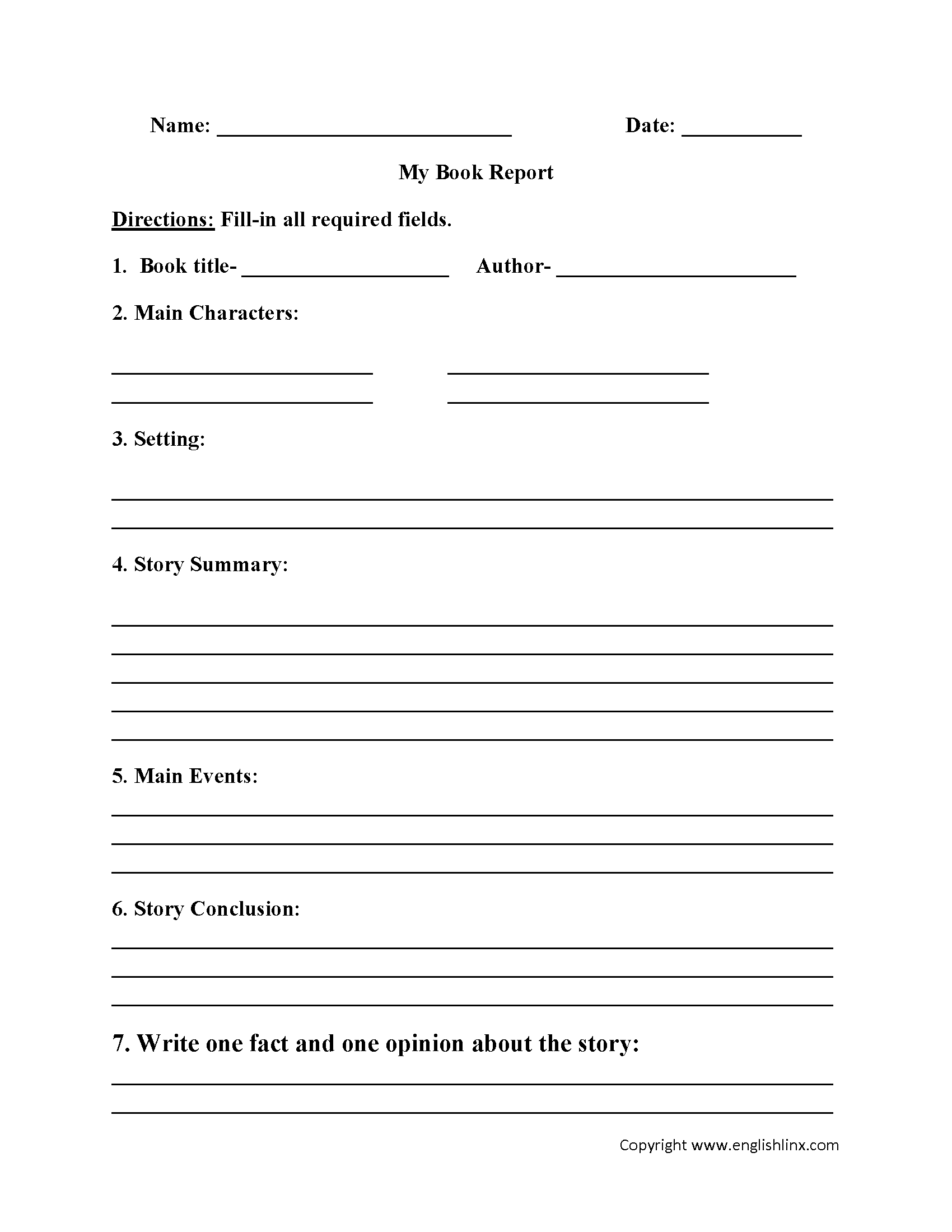 Englishlinx   Book Report Worksheets - Book Report Template Free Printable