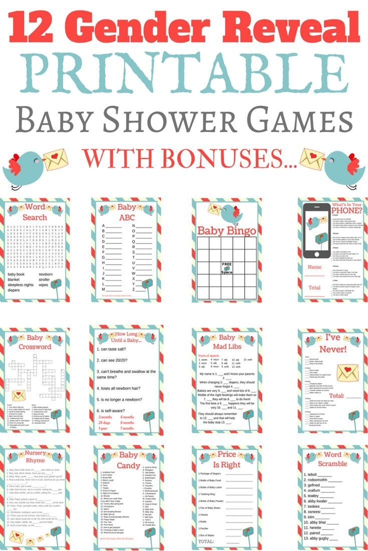 Entire Gender Reveal Printable Game Set In 2019 | Baby Gender - Free Printable Gender Reveal Games
