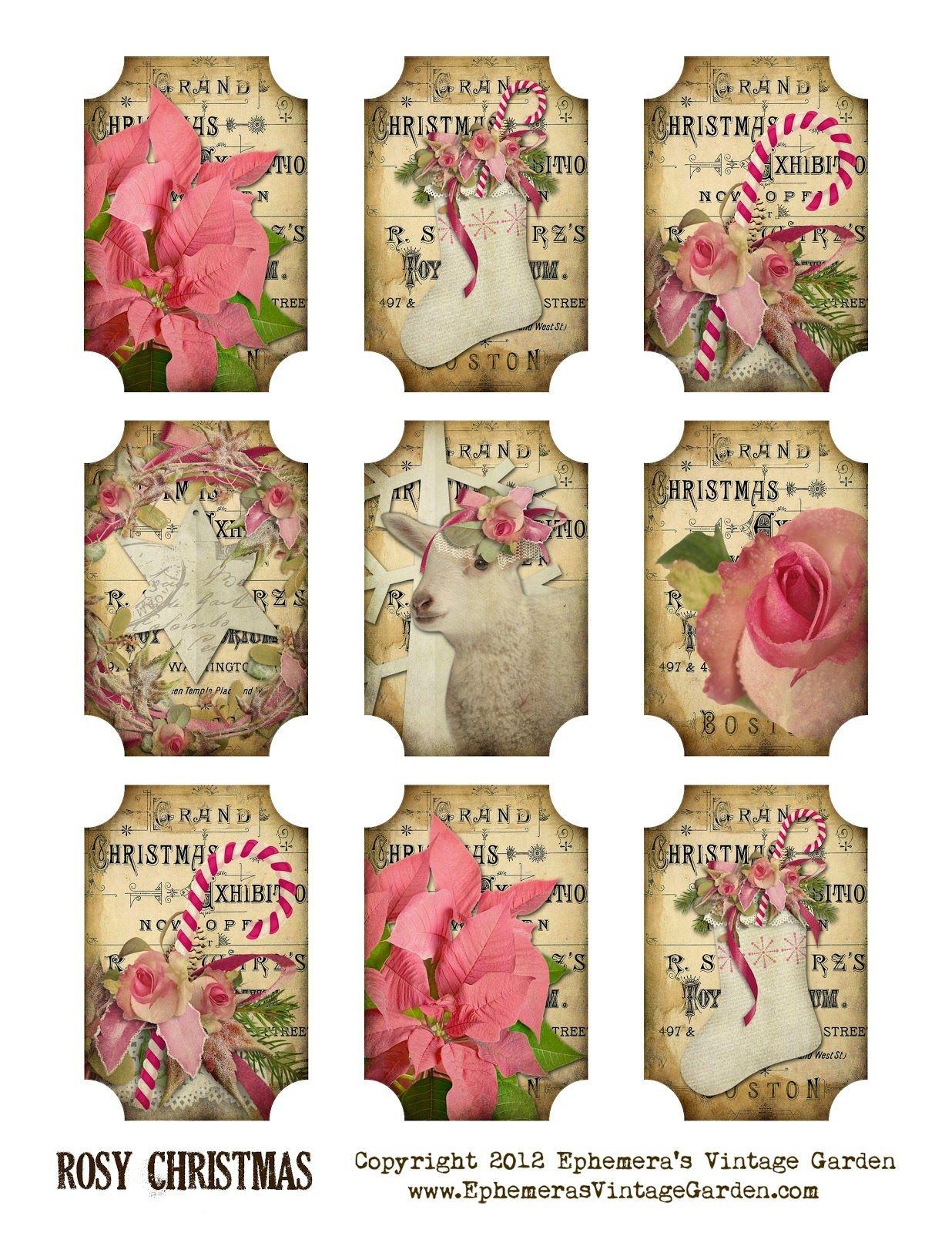 Ephemera's Vintage Garden: Free Printable: Rosy Christmas Gift Tags - Free Printable Vintage Pictures