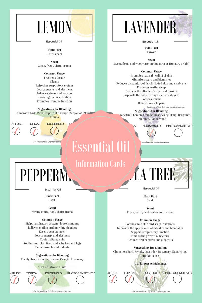 Essential Oil Education- Free Printable! | Blog Love | Essential - Free Printable Doterra Sample Cards