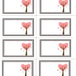 Etiquettes Imprimables | Valentine Labels With Love Birds On Tree   Free Printable Heart Labels
