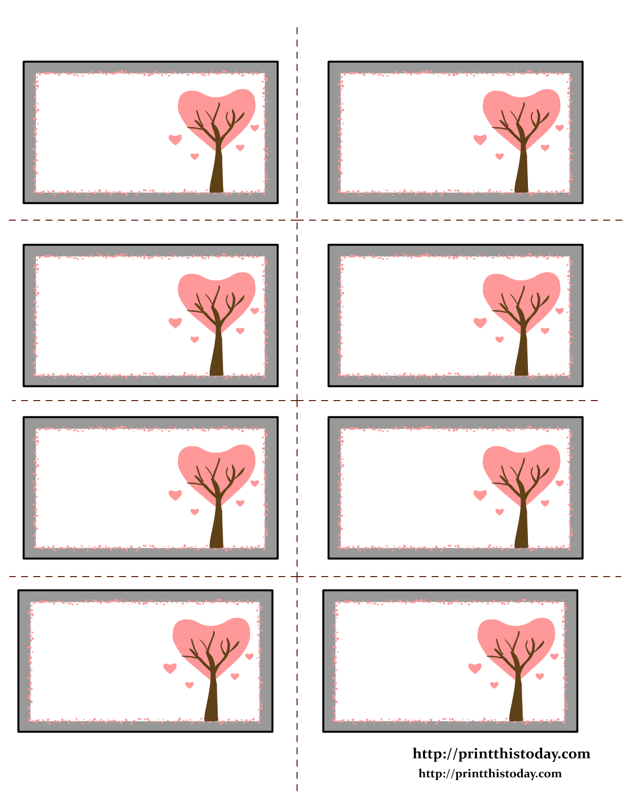 Etiquettes Imprimables | Valentine Labels With Love Birds On Tree - Free Printable Heart Labels