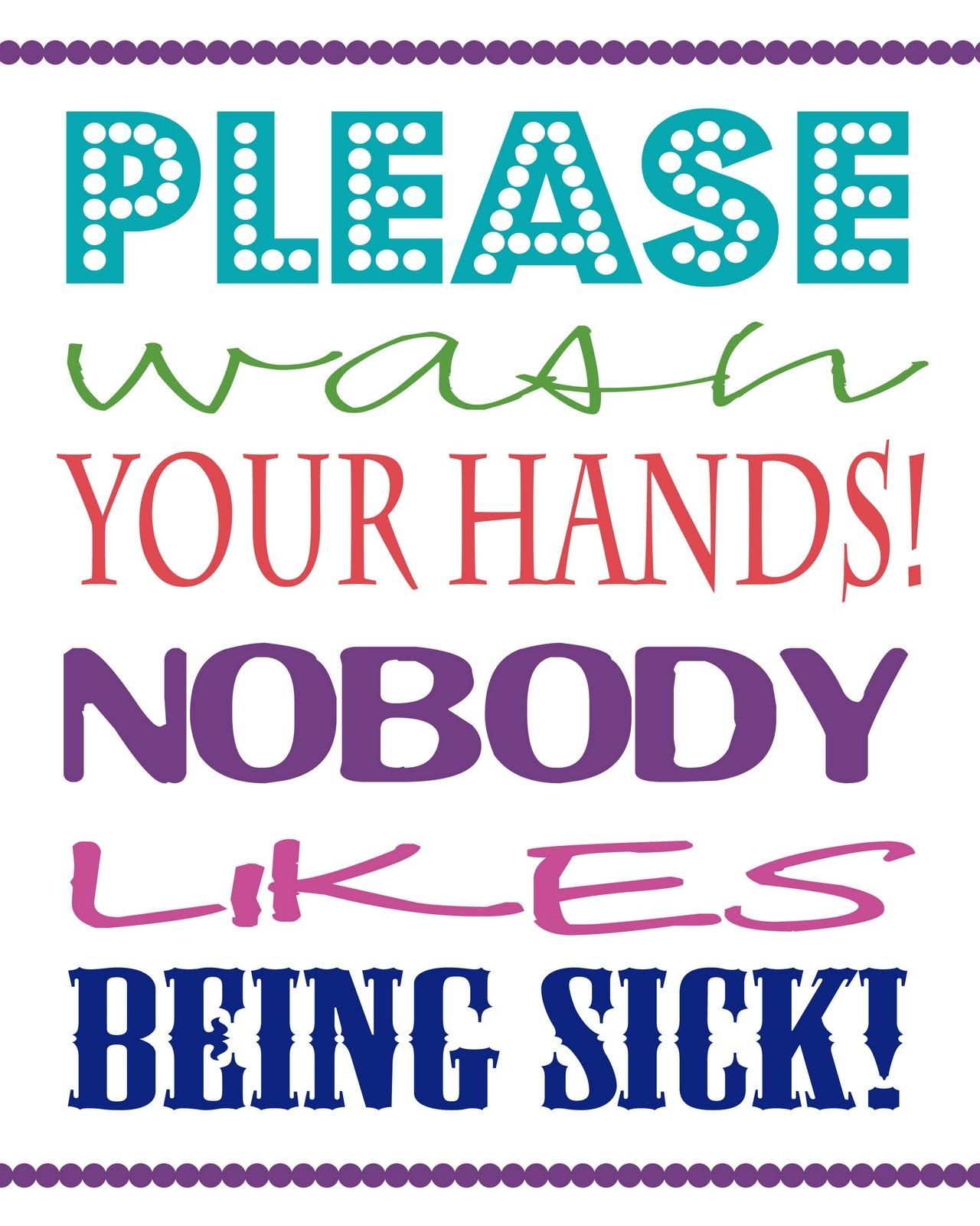 Evening Birdsong: Wash Your Hands Printable - Free Wash Your Hands Signs Printable