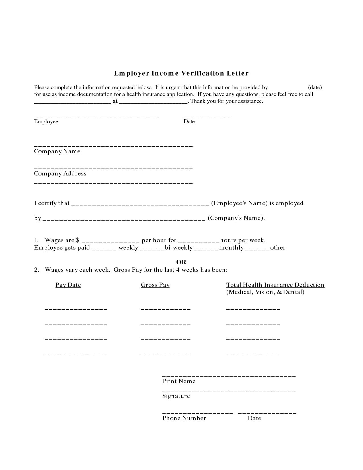 Example Employment Verification Letter Income | Printables | House - Free Printable Employment Verification Letter