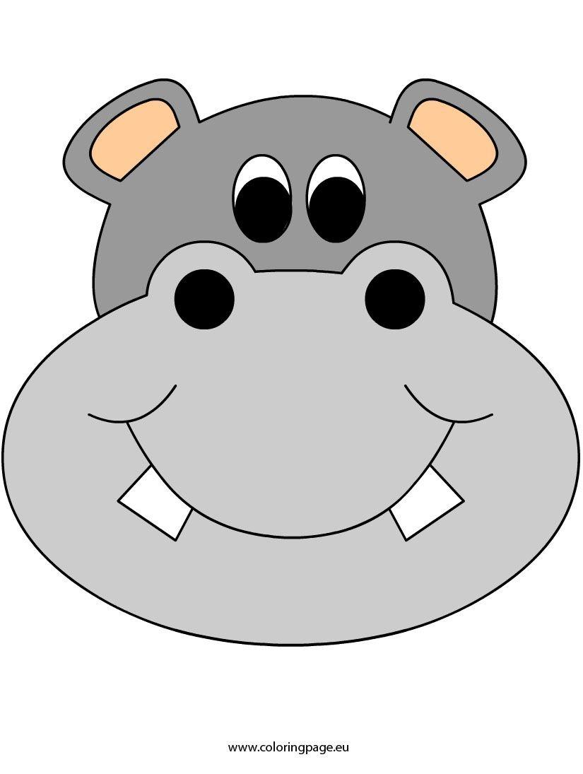 Face-Mask-Hippo2   Coloring Fun   Cartoon Hippo, Mask Template, Lion - Free Printable Hippo Mask