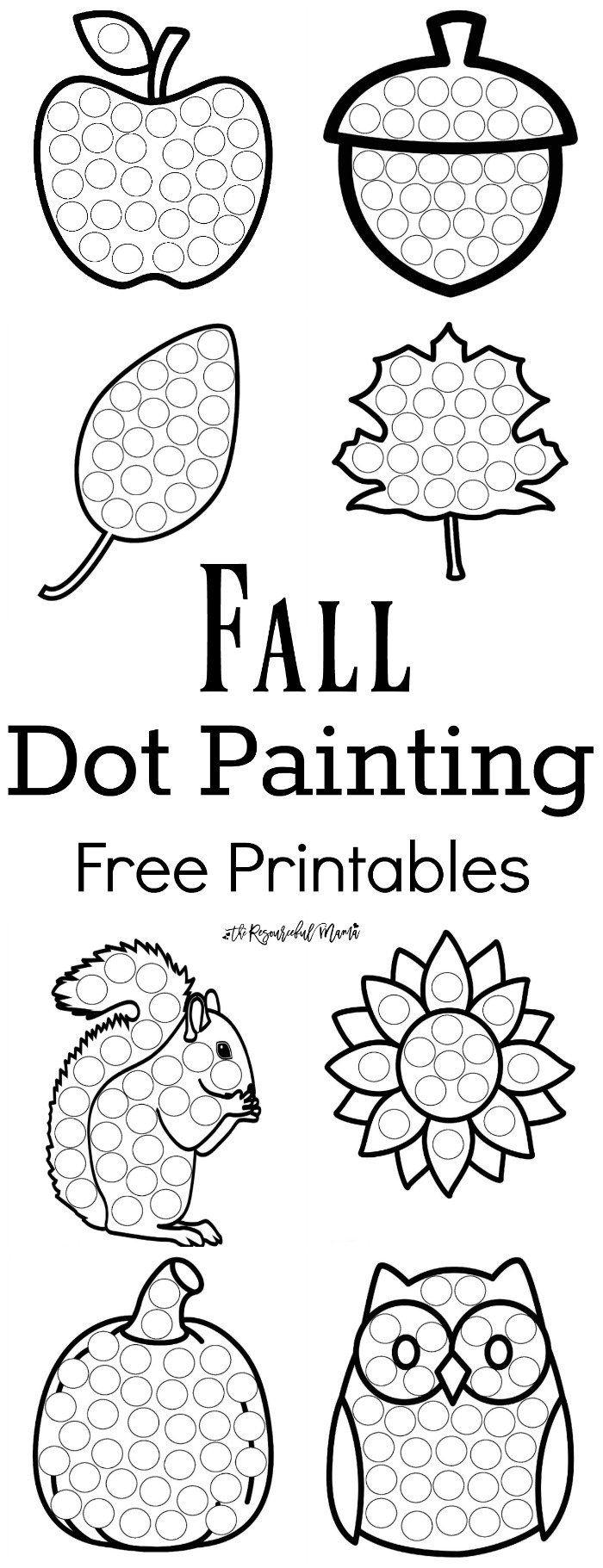 Fall Dot Painting {Free Printables} | Onderwijs | Herfst, Herfst - Free Dot Painting Printables