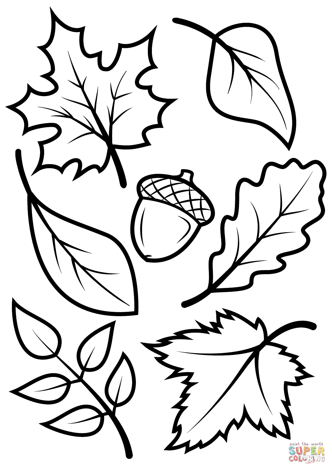 Fall Leaves And Acorn Coloring Page | Free Printable Coloring Pages - Fall Leaves Pictures Free Printable