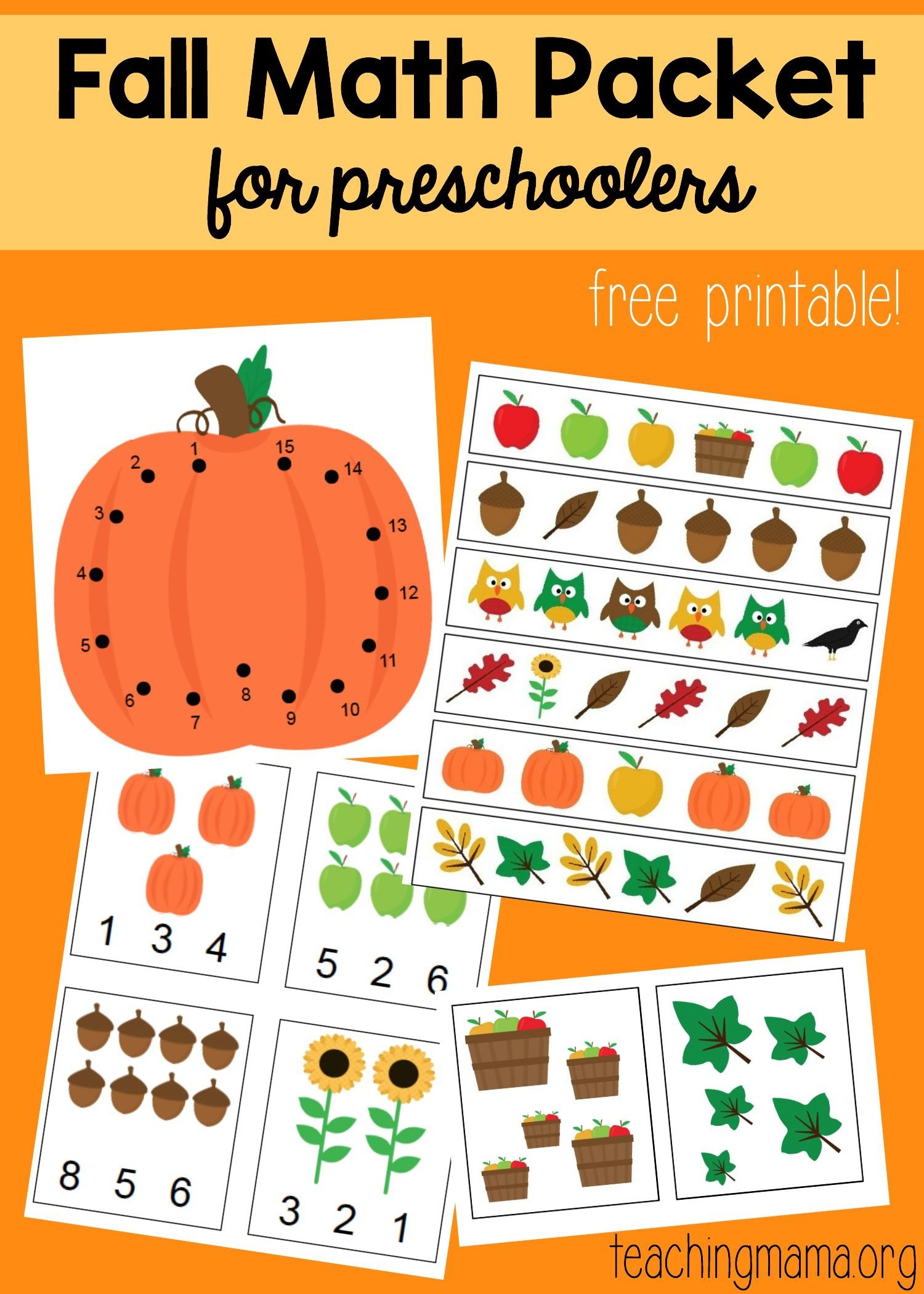 Fall Math Packet For Preschoolers - Free October Preschool Printables