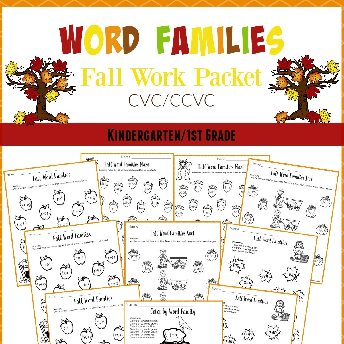 Fall Word Families Worksheets For Kindergarten Or 1St Grade - Free Printable Word Family Worksheets For Kindergarten