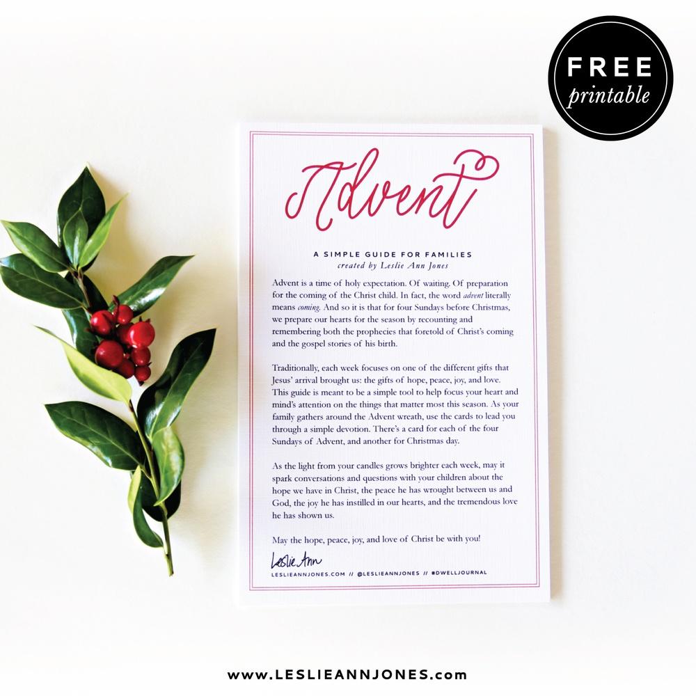 Family Advent Devotion — Leslie Ann Jones - Free Printable Advent Devotions