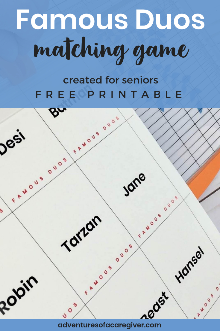 Famous Duos Free Printable - Alzheimer's And Dementia Activity - Free Printable Activities For Dementia Patients