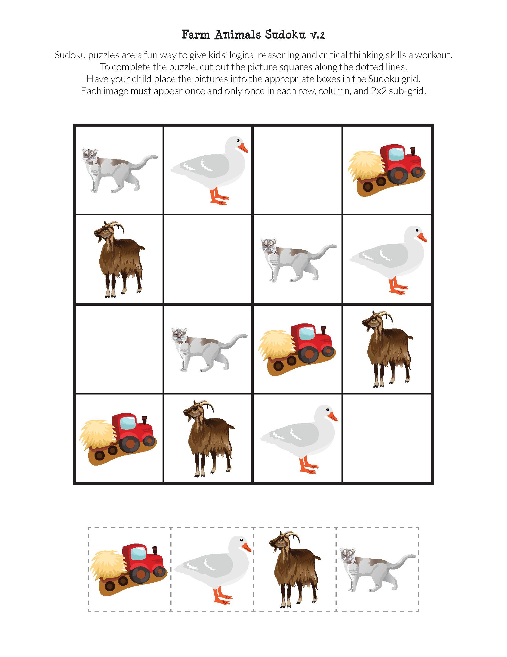Farm Animals Sudoku Puzzles {Free Printables} - Gift Of Curiosity - Free Printable Animal Puzzles