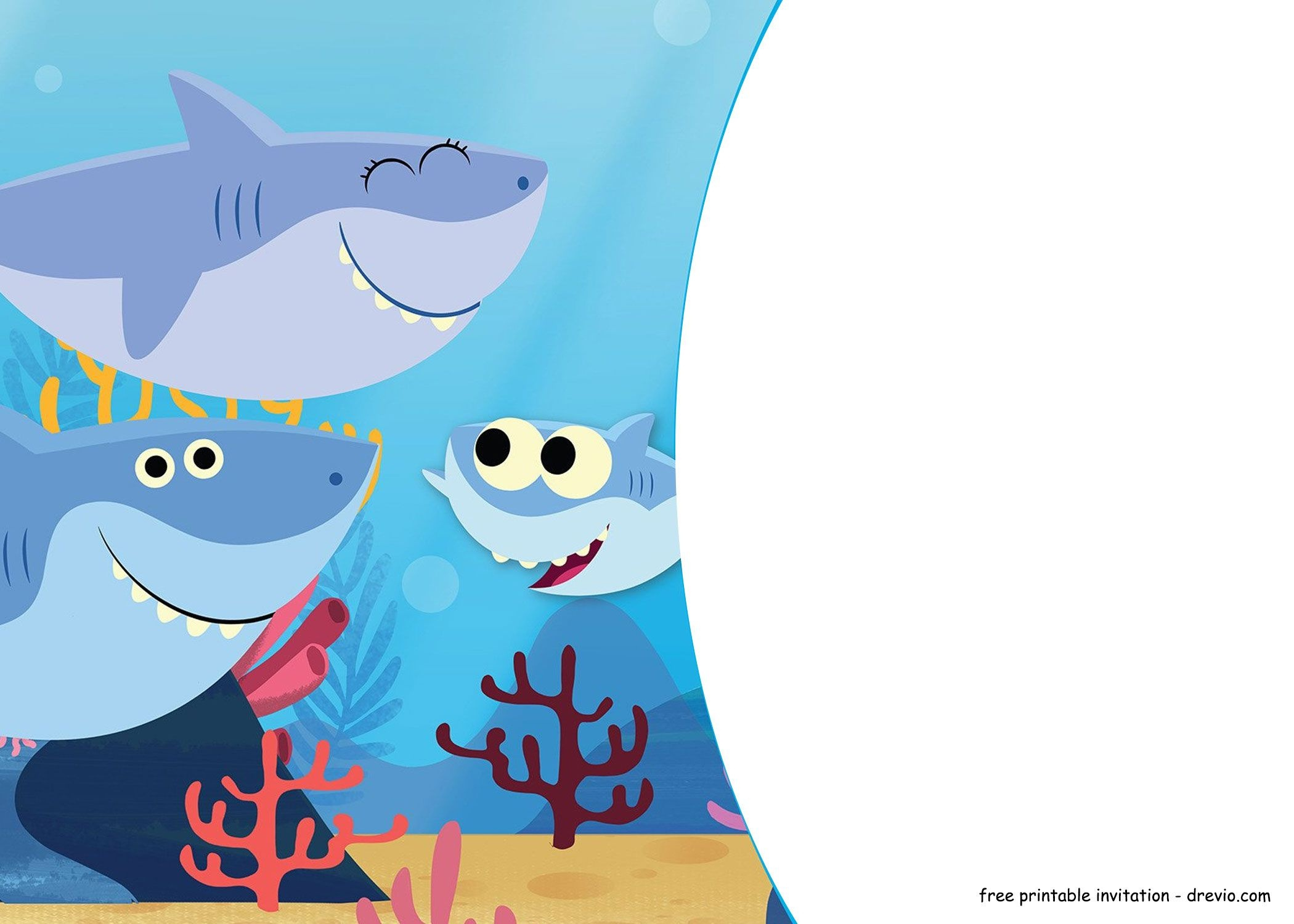 Fashion : Free Printable Baby Shark Pinkfong Birthday Invitation - Free Baby Shark Printables
