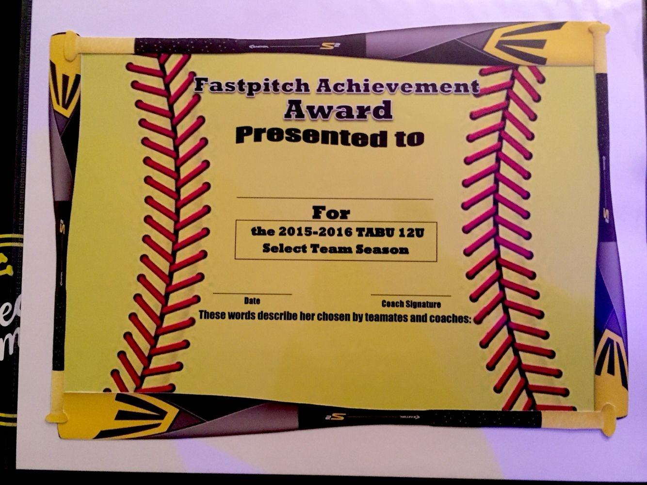 Fastpitch/softball Awards Certificate. | Softball | Fastpitch - Free Printable Softball Award Certificates